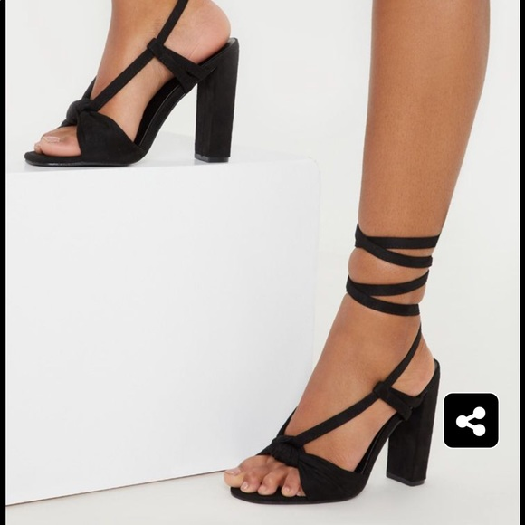 b90be4be764 Black Knot Lace Up Block Heel Sandal. NWT. PrettyLittleThing